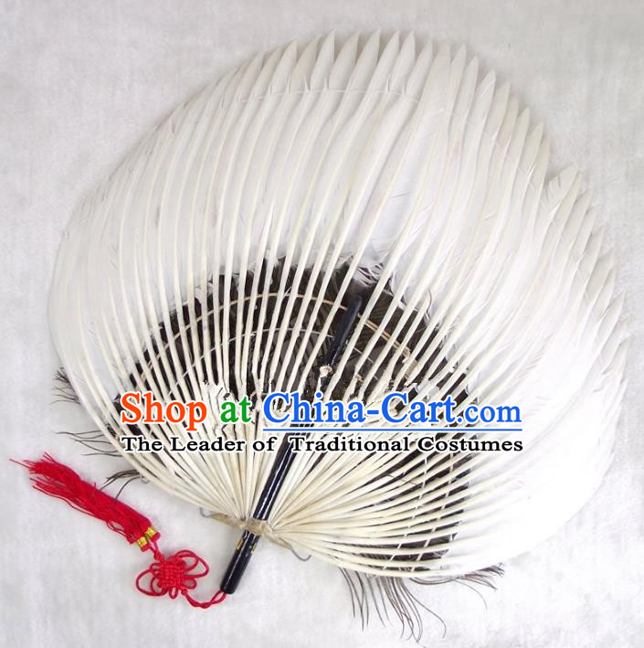 Traditional Chinese Crafts Folding Fan China White Goose Feather Fan Oriental Fan Zhuge Liang Fans