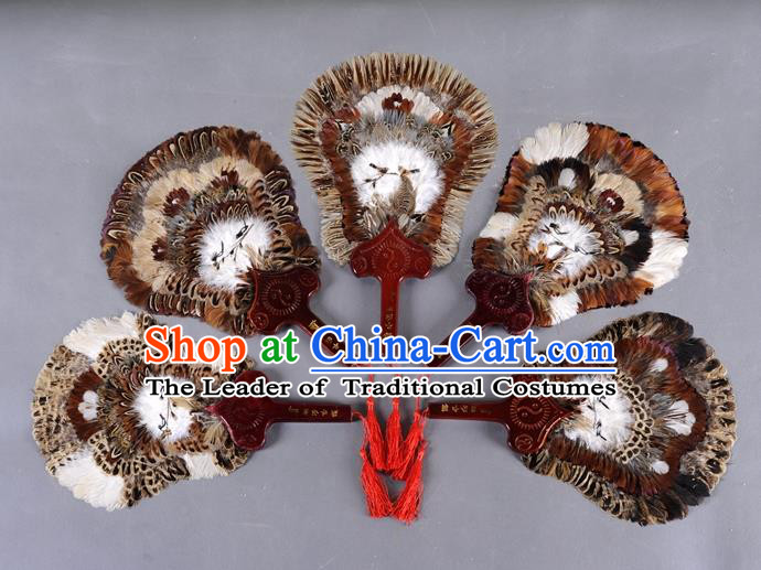 Traditional Chinese Crafts Folding Fan China Golden Pheasant Feather Fan Oriental Fan Zhuge Liang Fans