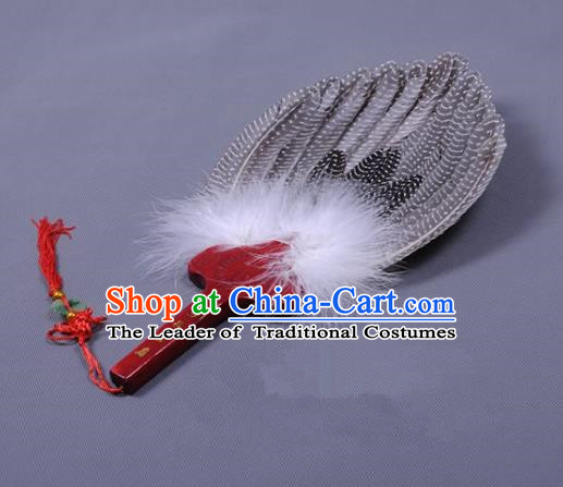 Traditional Chinese Crafts Folding Fan China Grey Feather Fan Oriental Fan Zhuge Liang Fans