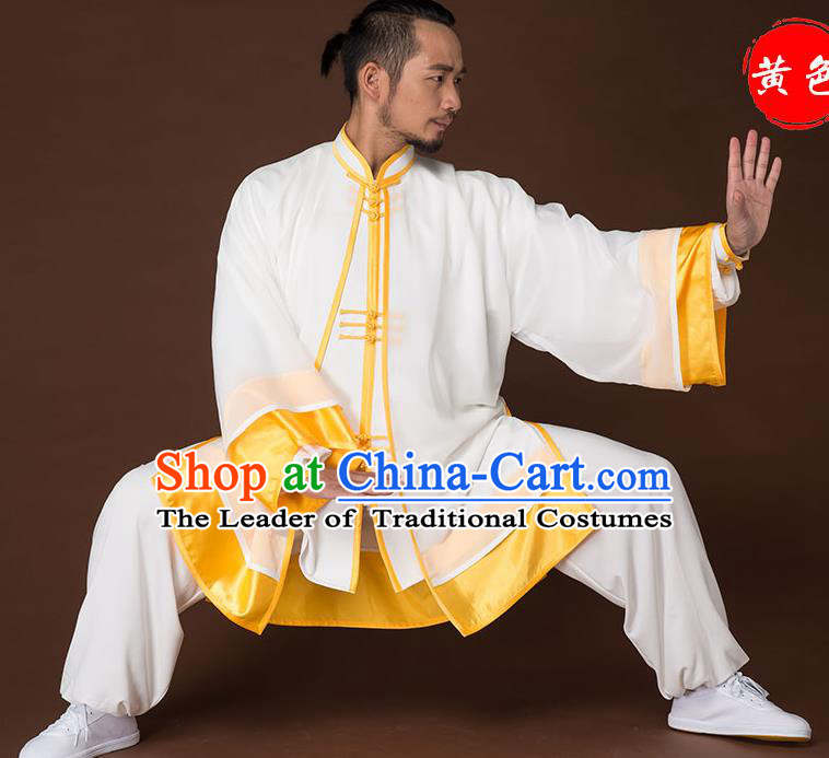 Traditional Chinese Kung Fu Costume Complete Set, China Martial Arts Yellow Uniform Tai Ji Tang Suit Clothing for Men