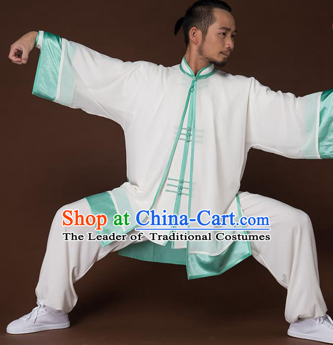 Traditional Chinese Kung Fu Costume Complete Set, China Martial Arts Green Uniform Tai Ji Tang Suit Clothing for Men