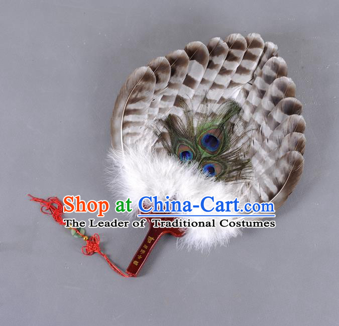 Traditional Chinese Crafts Folding Fan China Black Feather Fan Oriental Fan Zhuge Liang Fans