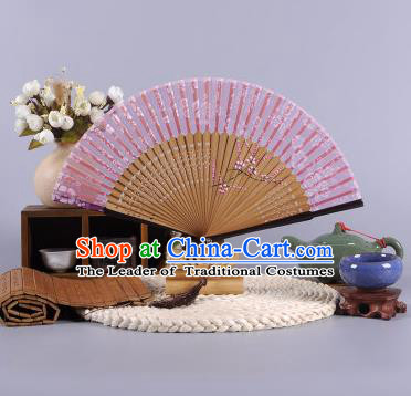 Traditional Chinese Crafts Hand Painted Wintersweet Pink Silk Folding Fan China Oriental Fans for Women
