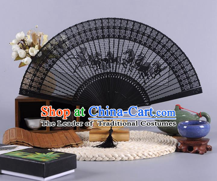Traditional Chinese Crafts Hollow Out Eight Horses Folding Fan China Oriental Black Bamboo Fans for Women