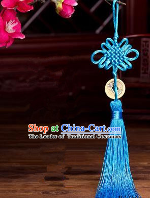 Traditional Chinese Fans Accessories Pendant Blue Tassel Chinese Knots Fans Pendant