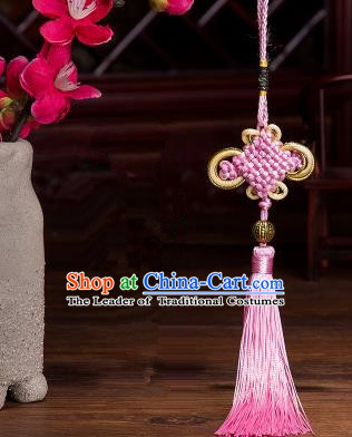 Traditional Chinese Fans Accessories Pendant Pink Tassel Chinese Knots Fans Pendant