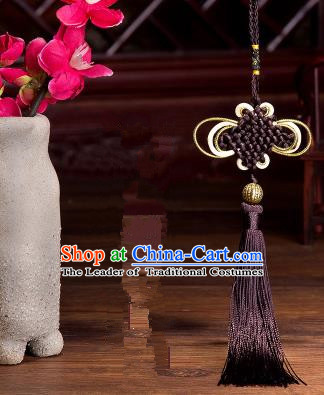 Traditional Chinese Fans Accessories Pendant Brown Tassel Chinese Knots Fans Pendant