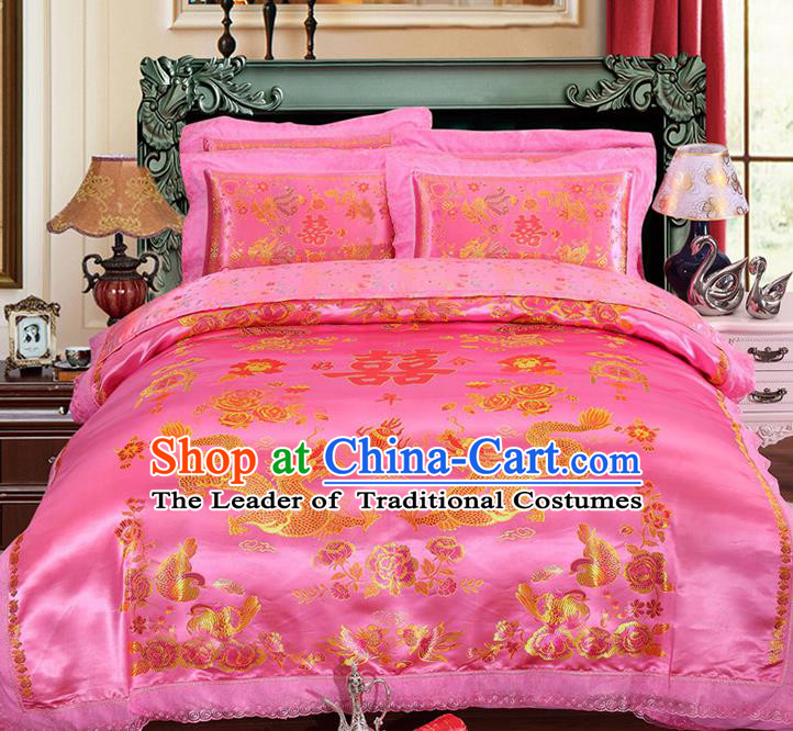 Traditional Chinese Wedding Pink Satin Qulit Cover Embroidered Dragons Bedding Sheet Four-piece Duvet Cover Textile Complete Set