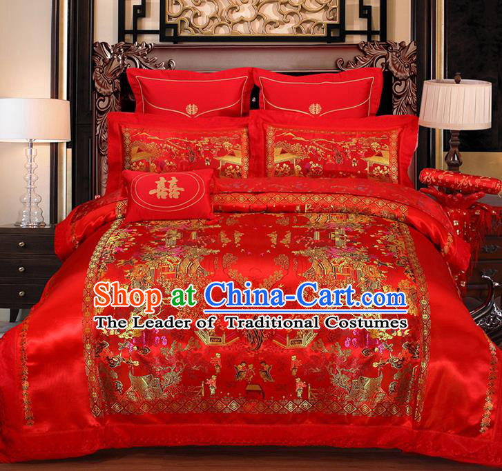 Traditional Asian Chinese Wedding Red Satin Qulit Cover Embroidered Hundred Children Bedding Sheet Four-piece Duvet Cover Textile Complete Set
