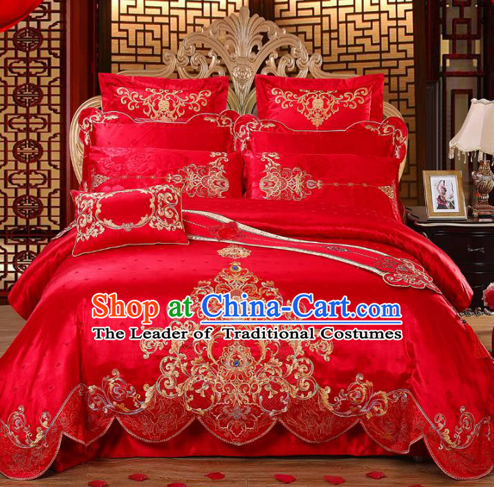 Traditional Chinese Wedding Red Satin Qulit Cover Embroidered Bedding Sheet Ten-piece Duvet Cover Textile Complete Set