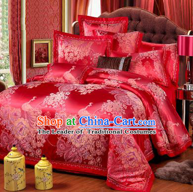 Traditional Chinese Wedding Red Satin Qulit Cover Printing Peacock Bedding Sheet Four-piece Duvet Cover Textile Complete Set