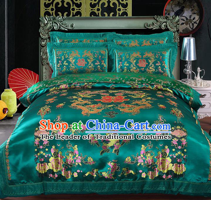 Traditional Asian Chinese Wedding Green Satin Qulit Cover Embroidered Hundred Children Bedding Sheet Four-piece Duvet Cover Textile Complete Set