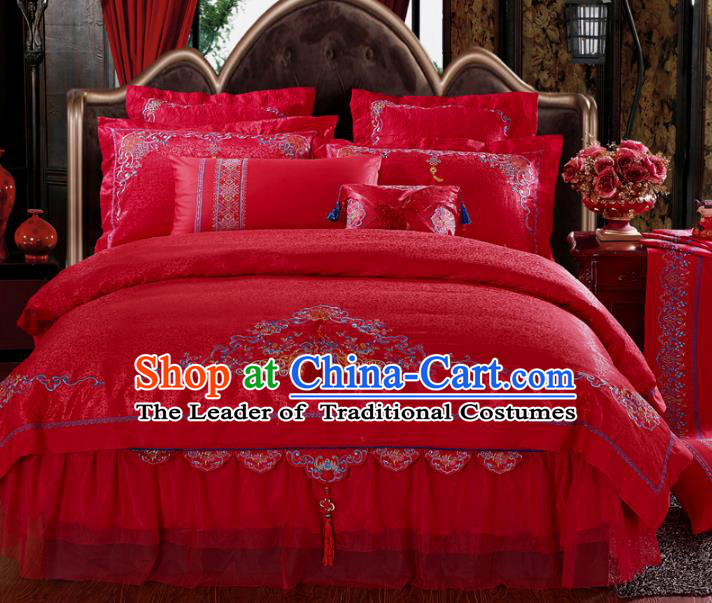 Traditional Chinese Wedding Red Satin Qulit Cover Bedding Sheet Embroidered Four-piece Duvet Cover Textile Complete Set