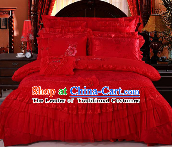 Traditional Chinese Wedding Red Lace Satin Qulit Cover Bedding Sheet Embroidered Ten-piece Duvet Cover Textile Complete Set