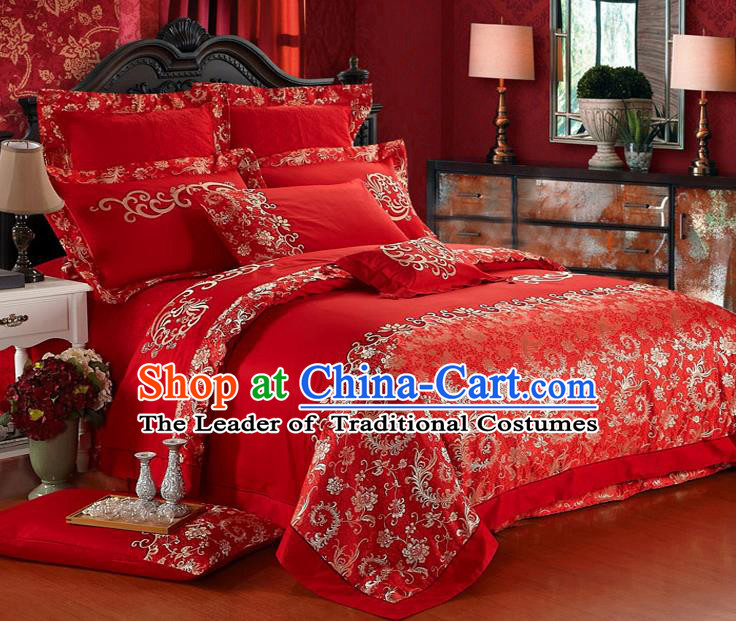 Traditional Chinese Wedding Red Qulit Cover Bedding Sheet Embroidered Ten-piece Duvet Cover Textile Complete Set