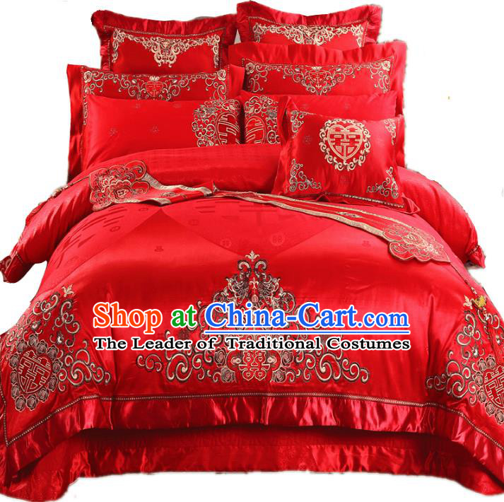 Traditional Chinese Wedding Red Satin Qulit Cover Bedding Sheet Embroidered Twelve-piece Duvet Cover Textile Complete Set