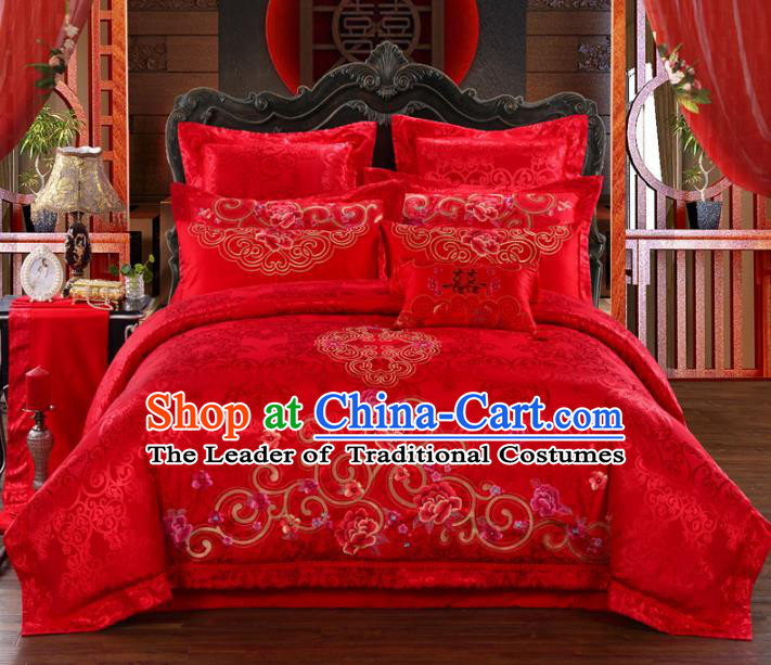 Traditional Chinese Wedding Red Satin Qulit Cover Bedding Sheet Embroidered Peony Ten-piece Duvet Cover Textile Complete Set