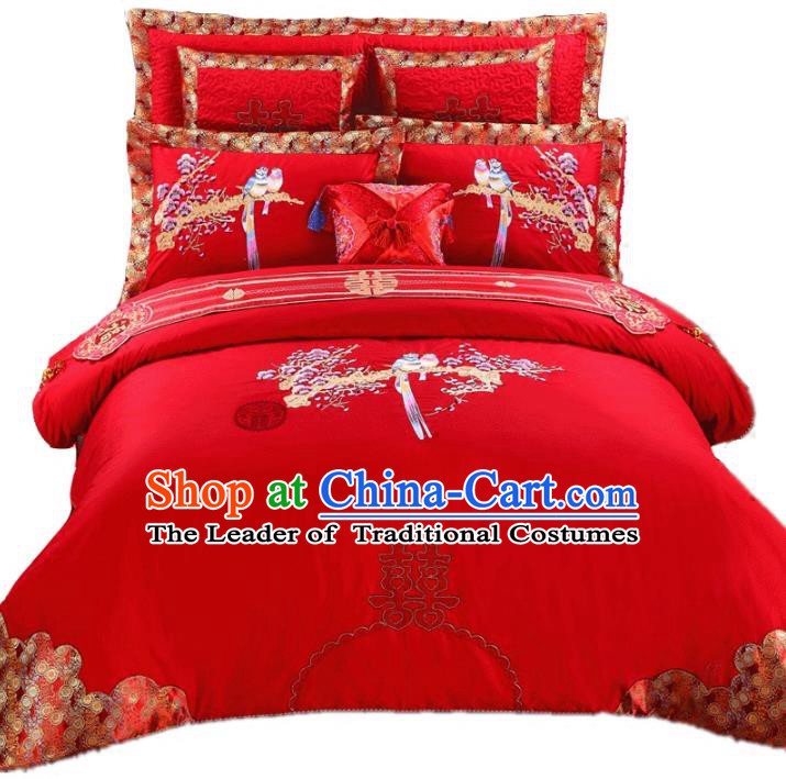 Traditional Chinese Wedding Red Qulit Cover Bedding Sheet Embroidered Magpie Ten-piece Duvet Cover Textile Complete Set