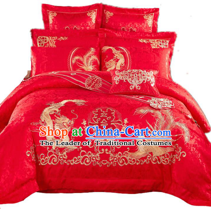 Traditional Chinese Wedding Red Satin Qulit Cover Bedding Sheet Embroidered Dragon Phoenix Eleven-piece Duvet Cover Textile Complete Set