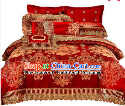 Traditional Asian Chinese Wedding Palace Lace Qulit Cover Bedding Sheet, Embroidered Satin Drill Ten-piece Duvet Cover Textile Bedding Suit