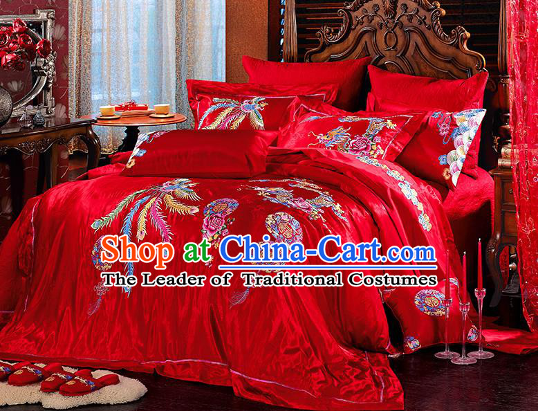 Traditional Asian Chinese Wedding Palace Lace Qulit Cover Bedding Sheet Embroidered Dragon Phoenix Ten-piece Duvet Cover Textile Bedding Suit