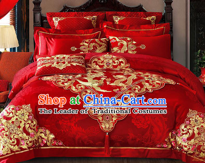 Traditional Asian Chinese Wedding Palace Qulit Cover Bedding Sheet Embroidered Dragon Phoenix Eleven-piece Duvet Cover Textile Bedding Suit