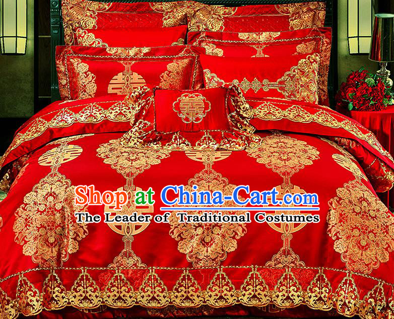 Traditional Asian Chinese Wedding Palace Qulit Cover Bedding Sheet Embroidered Ten-piece Duvet Cover Textile Bedding Suit