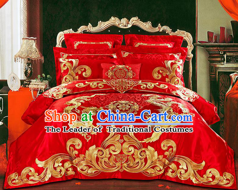 Traditional Asian Chinese Wedding Palace Qulit Cover Bedding Sheet Embroidered Eleven-piece Duvet Cover Textile Complete Set