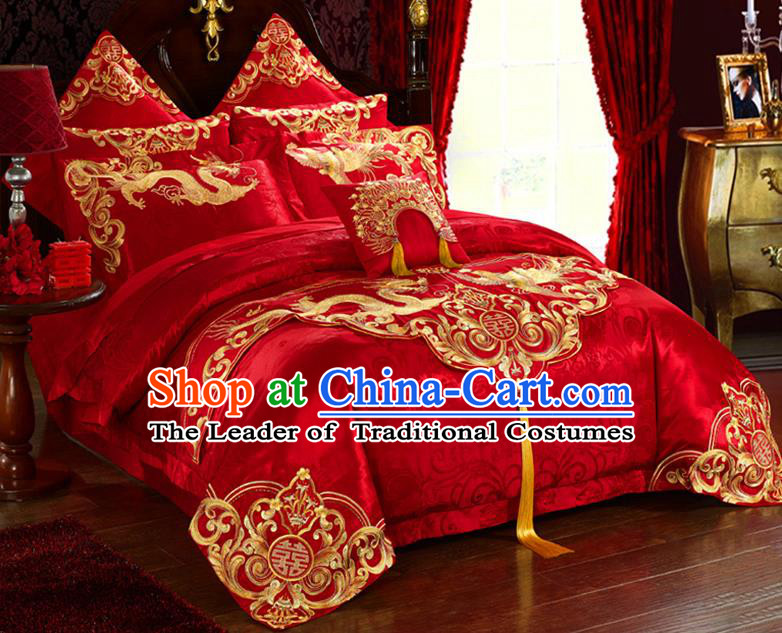 Traditional Asian Chinese Wedding Palace Qulit Cover Bedding Sheet Embroidered Dragon Phoenix Eleven-piece Duvet Cover Textile Complete Set