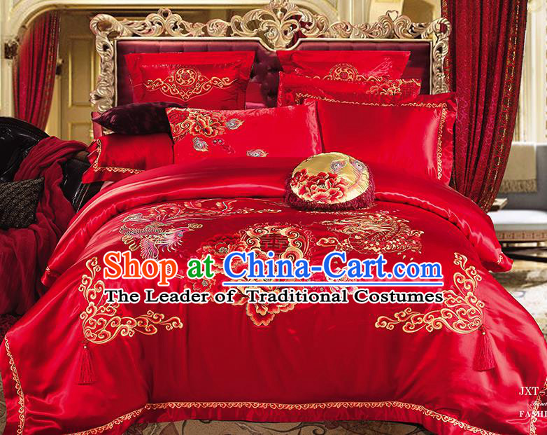 Traditional Asian Chinese Wedding Palace Qulit Cover Bedding Sheet Embroidered Peony Phoenix Ten-piece Duvet Cover Textile Complete Set