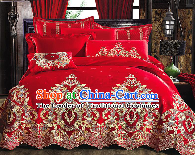 Traditional Asian Chinese Wedding Palace Qulit Cover Bedding Sheet Embroidered Ten-piece Duvet Cover Textile Complete Set