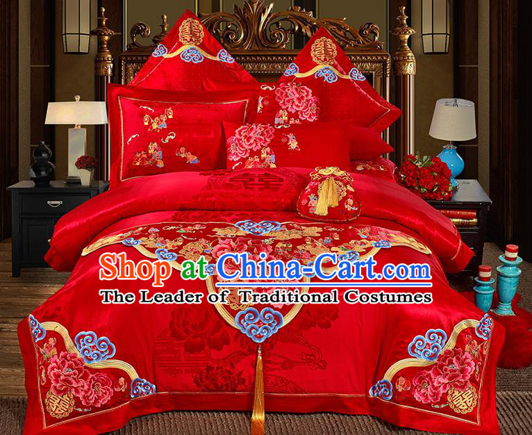 Traditional Asian Chinese Wedding Palace Qulit Cover Bedding Sheet Embroidered Peony Eleven-piece Duvet Cover Textile Complete Set