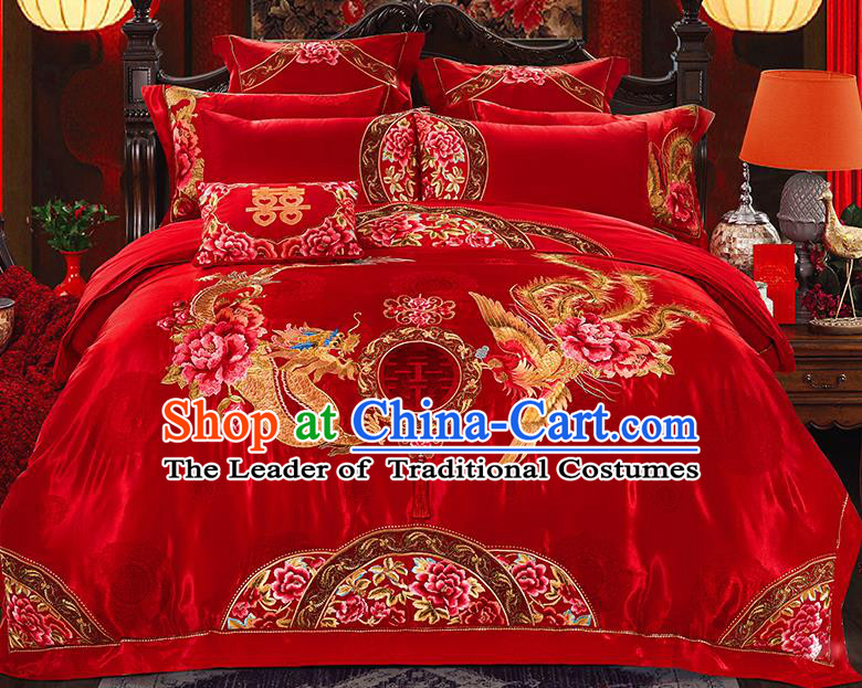 Traditional Asian Chinese Wedding Palace Qulit Cover Bedding Sheet Embroidered Dragon Phoenix Red Satin Ten-piece Duvet Cover Textile Complete Set