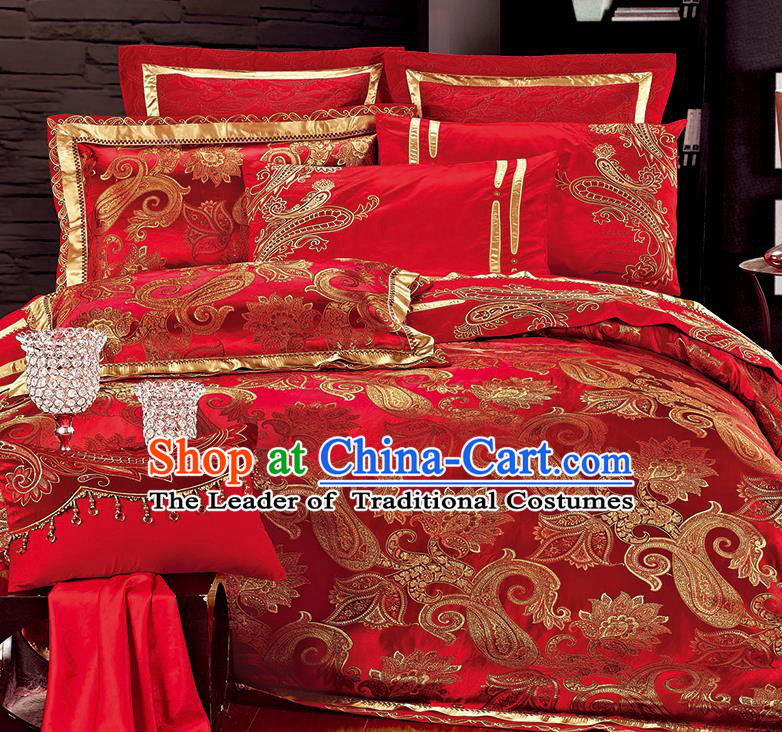 Traditional Asian Chinese Wedding Palace Qulit Cover Bedding Sheet Red Satin Ten-piece Duvet Cover Textile Complete Set