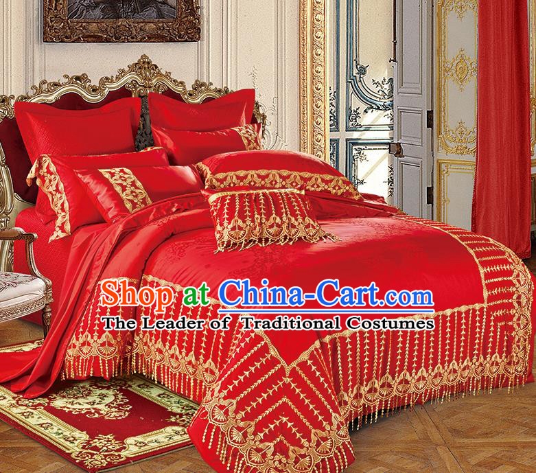 Traditional Asian Chinese Wedding Red Satin Qulit Cover Embroidered Palace Bedding Sheet Ten-piece Duvet Cover Textile Complete Set