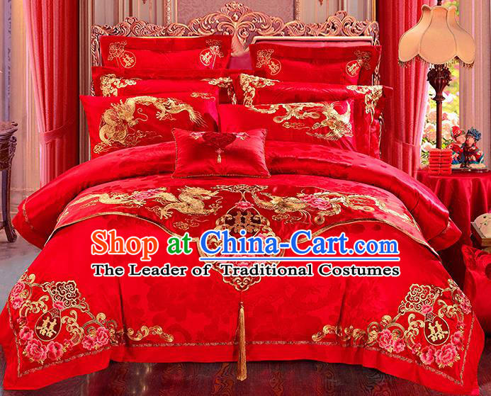 Traditional Asian Chinese Wedding Palace Qulit Cover Bedding Sheet Embroidered Dragon Phoenix Red Satin Eleven-piece Duvet Cover Textile Complete Set