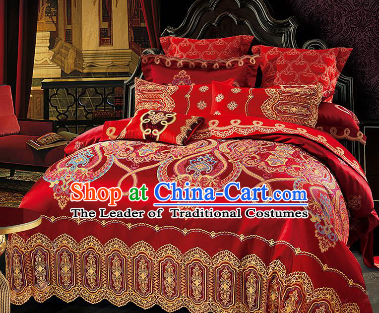 Traditional Asian Chinese Wedding Palace Lace Qulit Cover Bedding Sheet Embroidered Red Satin Ten-piece Duvet Cover Textile Complete Set
