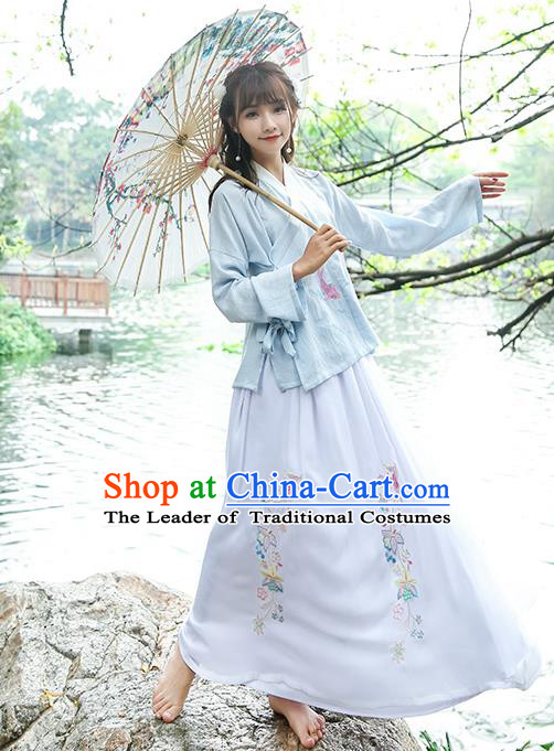 Traditional Chinese Ancient Ming Dynasty Young Lady Hanfu Embroidered Costume for Women