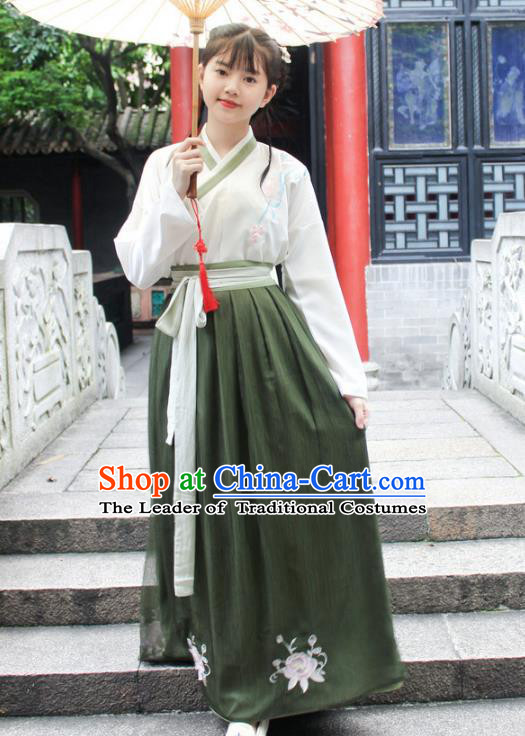 Traditional Chinese Ancient Ming Dynasty Young Lady Hanfu Costume Embroidered White Blouse and Green Skirt for Women