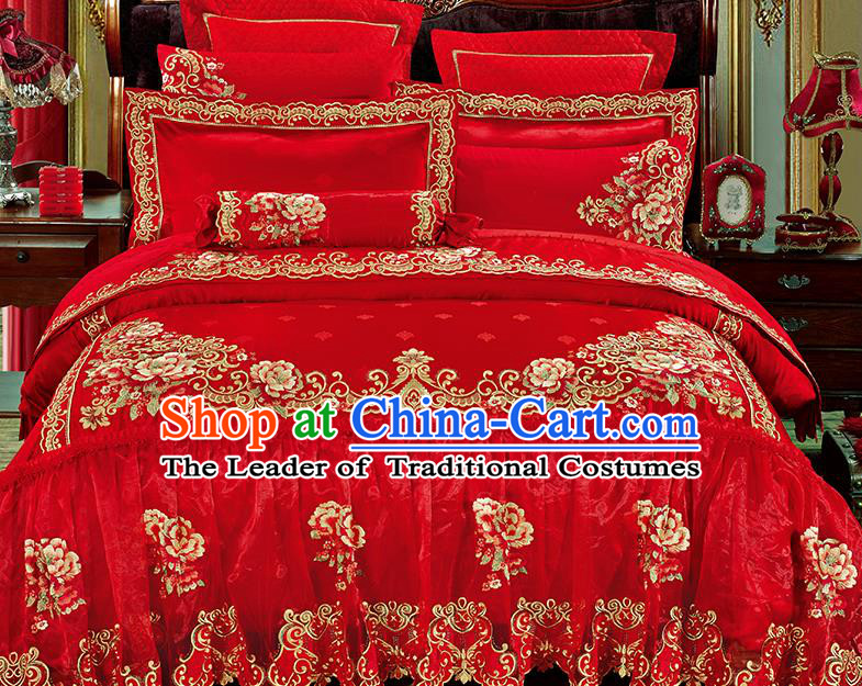 Traditional Asian Chinese Wedding Palace Qulit Cover Bedding Sheet Embroidered Flowers Red Satin Ten-piece Duvet Cover Textile Complete Set