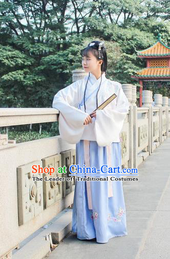 Traditional Chinese Ancient Ming Dynasty Young Lady Hanfu Costume Embroidered White Blouse and Blue Skirt for Women