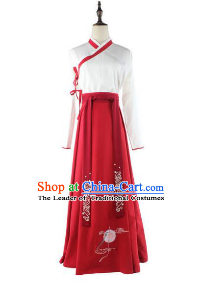 Traditional Chinese Ancient Han Dynasty Young Lady Hanfu Costume Embroidered White Blouse and Red Skirt for Women