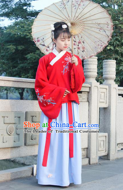 Traditional Chinese Ancient Ming Dynasty Princess Hanfu Costume Embroidered Red Blouse and Blue Skirt for Women