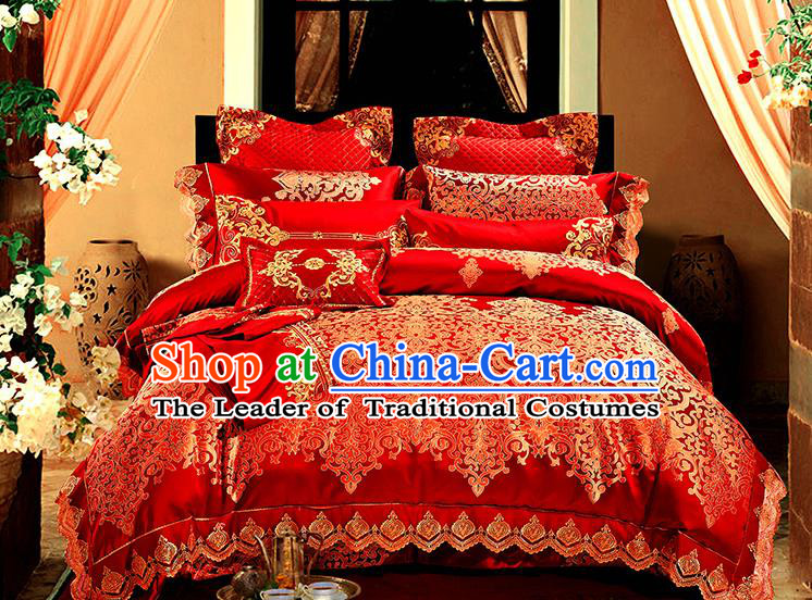 Traditional Asian Chinese Wedding Red Satin Palace Qulit Cover Bedding Sheet Ten-piece Duvet Cover Textile Complete Set
