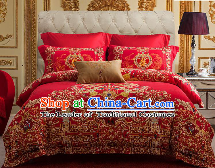 Traditional Asian Chinese Wedding Red Palace Qulit Cover Embroidered Bedding Sheet Four-piece Duvet Cover Textile Complete Set