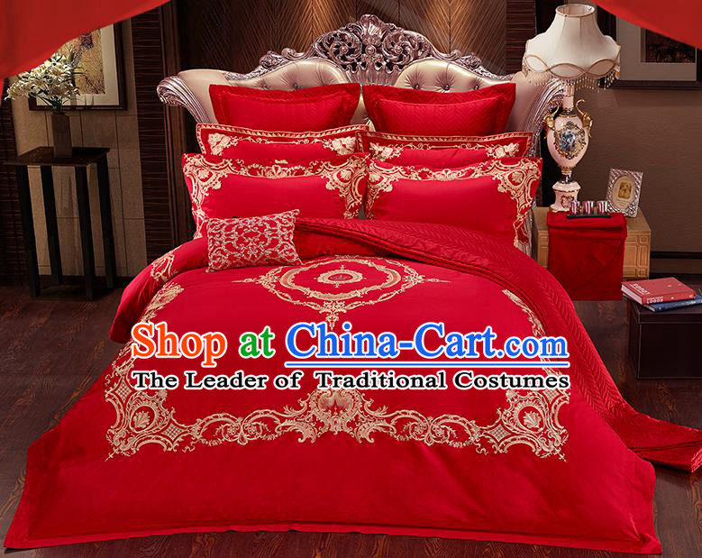 Traditional Asian Chinese Wedding Red Palace Qulit Cover Embroidered Bedding Sheet Ten-piece Duvet Cover Textile Complete Set