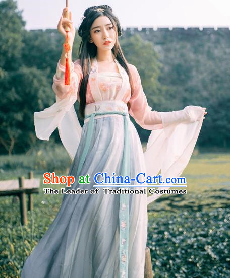 Traditional Chinese Tang Dynasty Princess Costume, China Ancient Palace Lady Hanfu Embroidered Clothing for Women