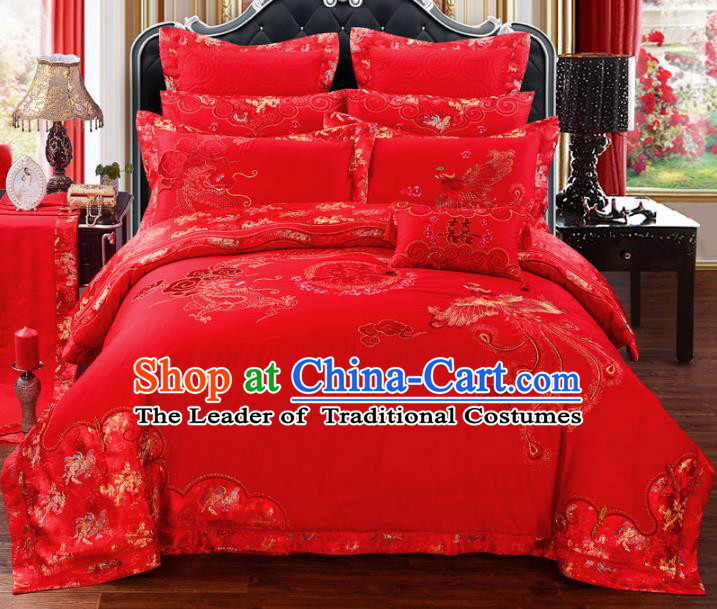 Traditional Chinese Wedding Red Embroidered Dragon Phoenix Ten-piece Bedclothes Duvet Cover Textile Qulit Cover Bedding Sheet Complete Set