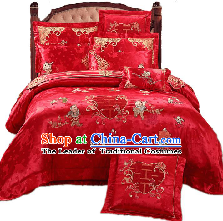 Traditional Chinese Wedding Red Embroidered Hundred Children Ten-piece Bedclothes Duvet Cover Textile Qulit Cover Bedding Sheet Complete Set