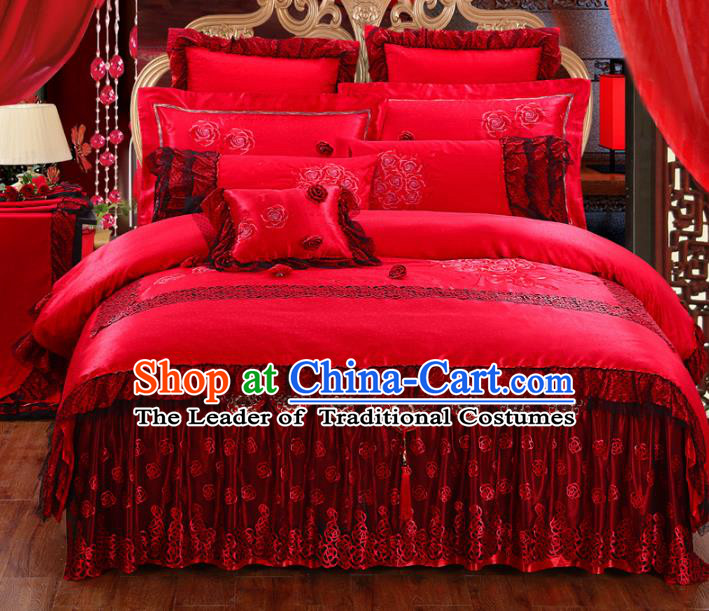 Traditional Chinese Wedding Red Embroidered Rose Ten-piece Bedclothes Duvet Cover Textile Qulit Cover Bedding Sheet Complete Set